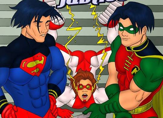 Heróis transando: Super Man, Robin e The Flash