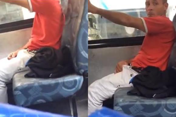 Flagrando homem brasileiro excitado no ônibus