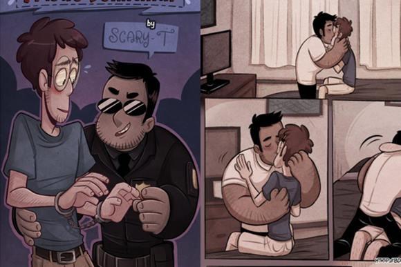 Policial fodendo com o preso - Quadrinho Erótico