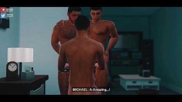 Desenho gay mostra sexo a três entre dotados gostosos